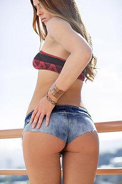 Tierra Lee Takes Off Her Denim Shorts