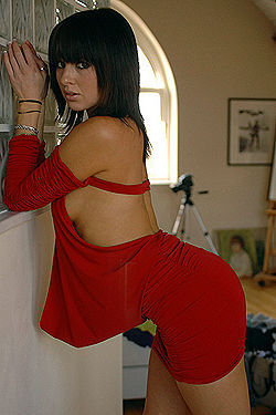 Hot Brunette In Sexy Red Dress