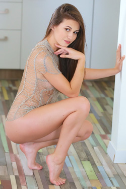 Perfect Brunette Girl Lilian Strips Off Her Sexy Bodysuit